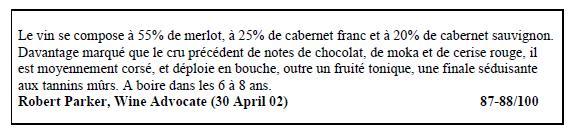 ワインアドヴォケイト、シャトー ピュイグロー2001の評価