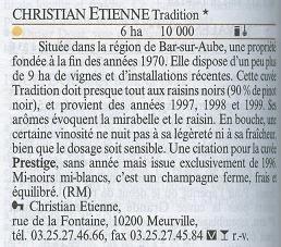 ギド・アシェット2004掲載、クリスチャン・エティエンヌ ブリュット・トラディッション