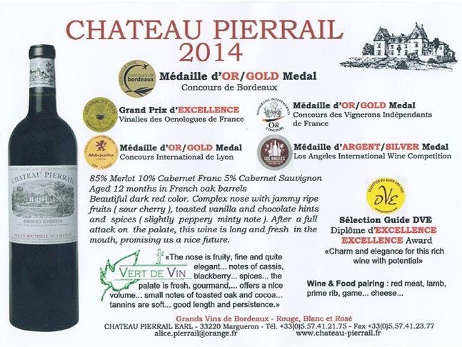 シャトー・ピエライユ2014 ワインコンクール金メダル・トリプル受賞